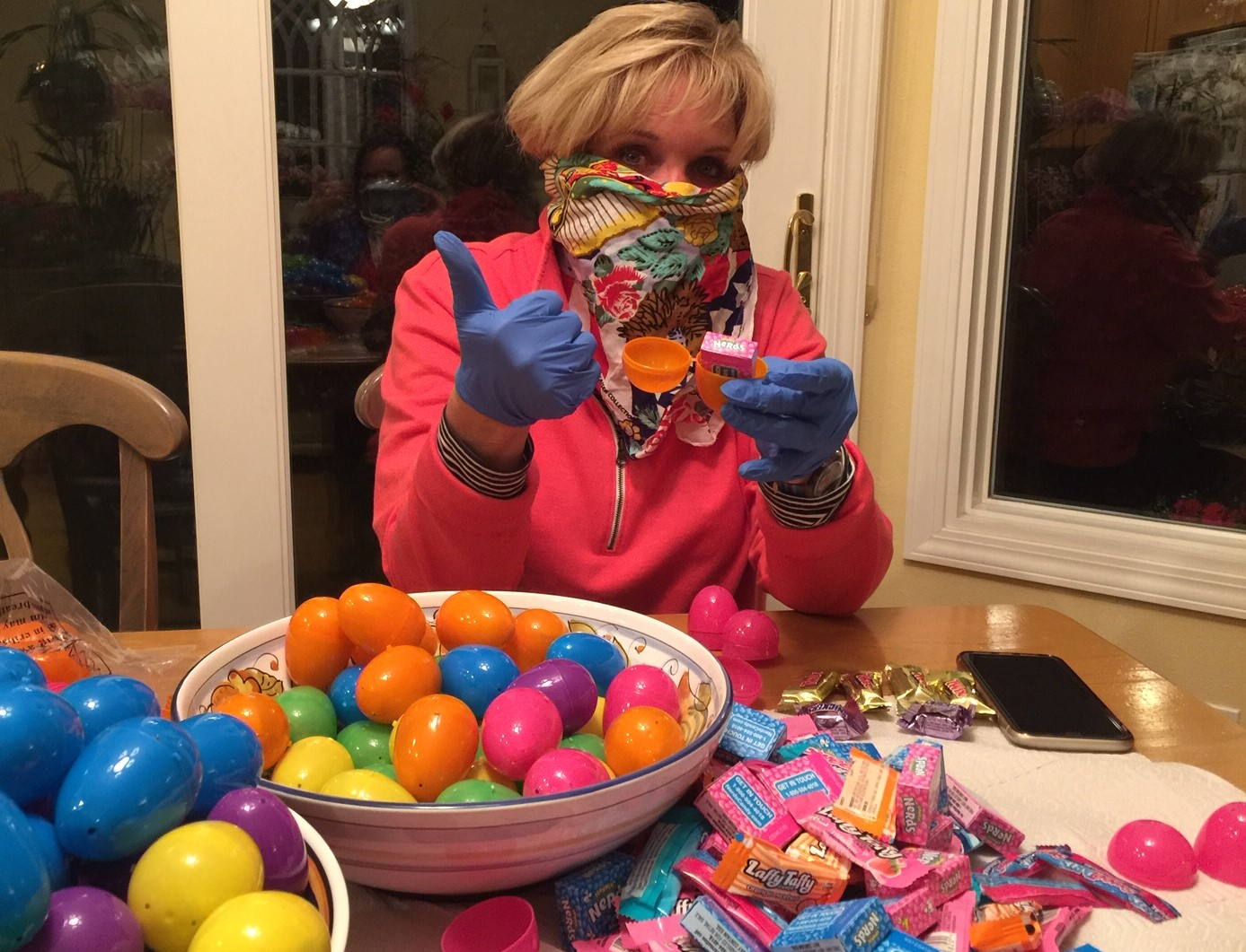 Kelly helping Easter Bunny